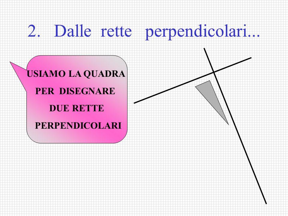 2. Dalle rette perpendicolari... USIAMO LA QUADRA PER DISEGNARE DUE RETTE PERPENDICOLARI
