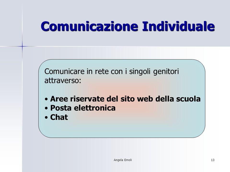 Angela Emoli13 Comunicazione Individuale Comunicare in rete con i singoli genitori attraverso: Aree riservate del sito web della scuola Posta elettronica Chat