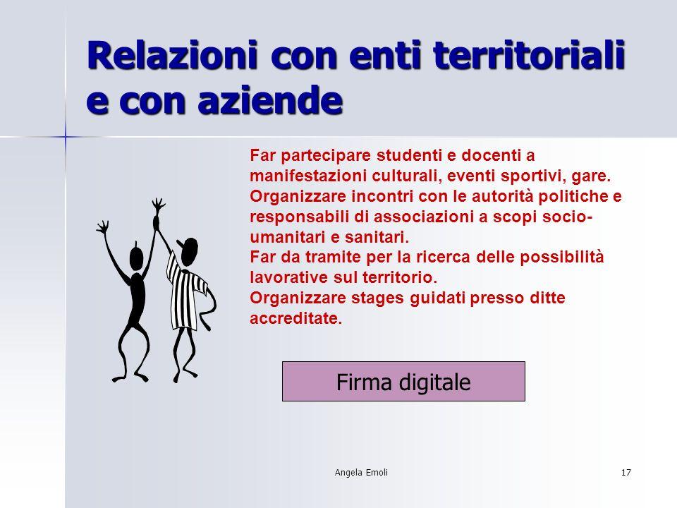 Angela Emoli17 Relazioni con enti territoriali e con aziende Far partecipare studenti e docenti a manifestazioni culturali, eventi sportivi, gare.