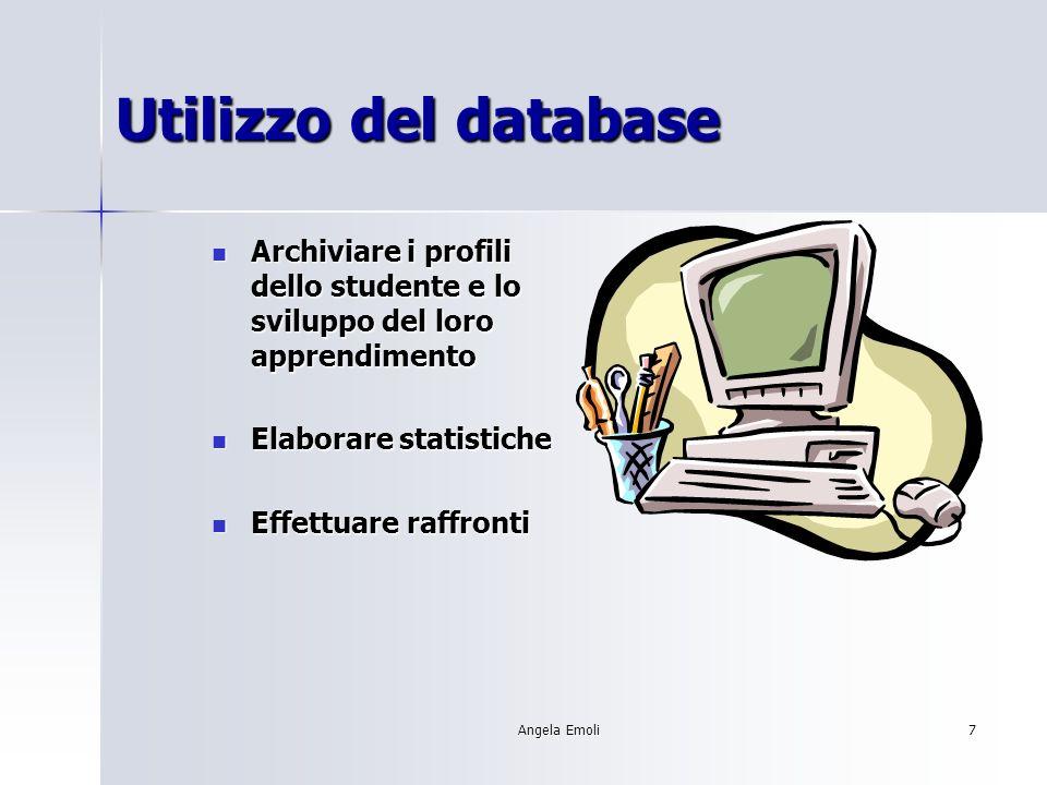 Angela Emoli7 Utilizzo del database Archiviare i profili dello studente e lo sviluppo del loro apprendimento Archiviare i profili dello studente e lo sviluppo del loro apprendimento Elaborare statistiche Elaborare statistiche Effettuare raffronti Effettuare raffronti