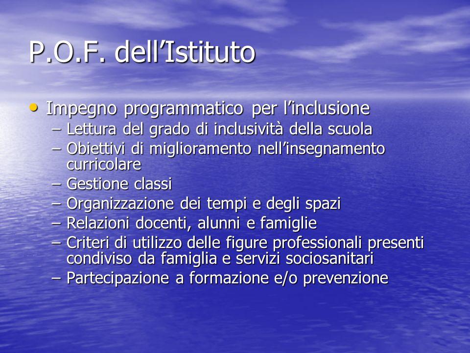 P.O.F. dellIstituto Impegno programmatico per linclusione Impegno programmatico per linclusione –Lettura del grado di inclusività della scuola –Obiett