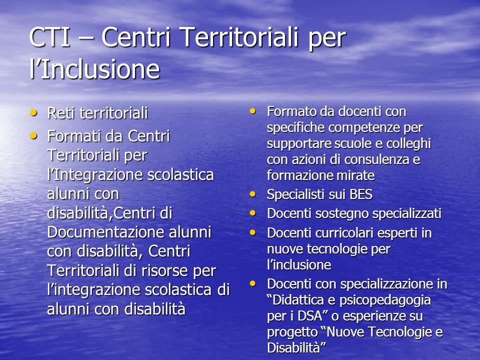 CTI – Centri Territoriali per lInclusione Reti territoriali Reti territoriali Formati da Centri Territoriali per lIntegrazione scolastica alunni con d
