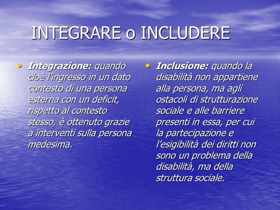 INTEGRARE o INCLUDERE Integrazione: quando cioè lingresso in un dato contesto di una persona esterna con un deficit, rispetto al contesto stesso, è ot