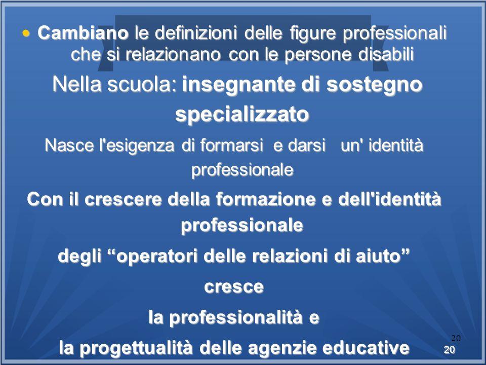 20 20 Cambiano Ie definizioni delle figure professionali che si relazionano con le persone disabili Cambiano Ie definizioni delle figure professionali