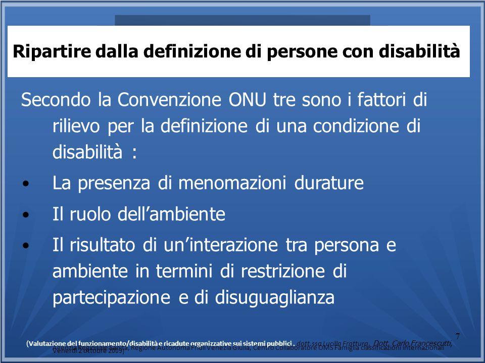 7 Ripartire dalla definizione di persone con disabilità Secondo la Convenzione ONU tre sono i fattori di rilievo per la definizione di una condizione