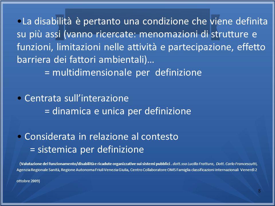 8 La disabilità è pertanto una condizione che viene definita su più assi (vanno ricercate: menomazioni di strutture e funzioni, limitazioni nelle atti