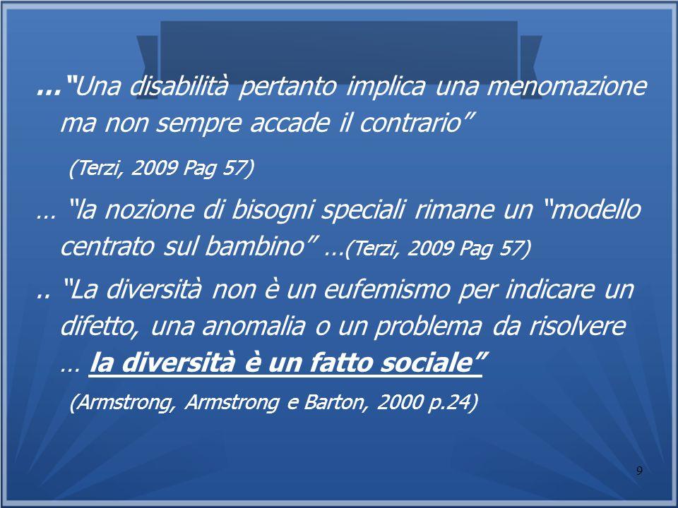 9 …Una disabilità pertanto implica una menomazione ma non sempre accade il contrario (Terzi, 2009 Pag 57) … la nozione di bisogni speciali rimane un m