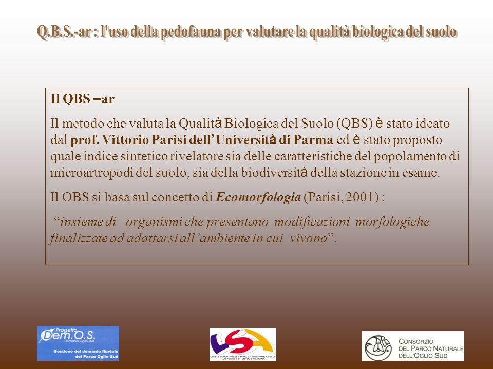 Il QBS – ar Il metodo che valuta la Qualit à Biologica del Suolo (QBS) è stato ideato dal prof. Vittorio Parisi dell Universit à di Parma ed è stato p
