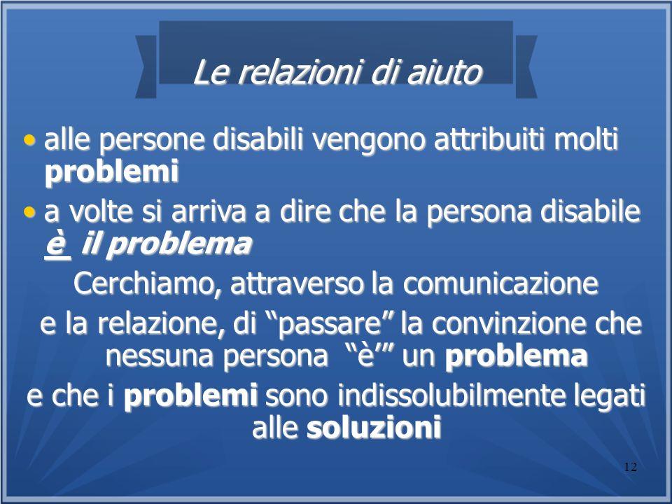 12 Le relazioni di aiuto alle persone disabili vengono attribuiti molti problemialle persone disabili vengono attribuiti molti problemi a volte si arr