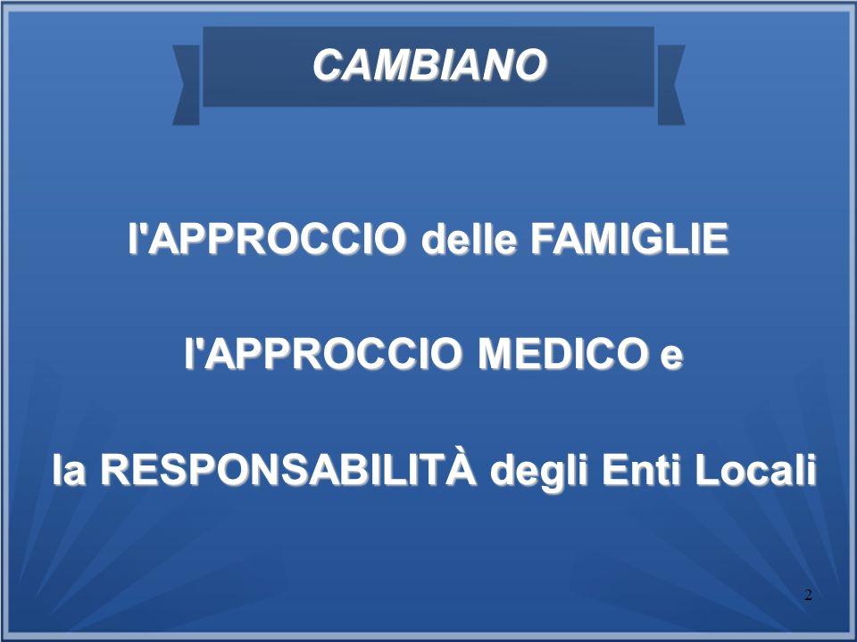 2 CAMBIANO l'APPROCCIO delle FAMIGLIE l'APPROCCIO MEDICO e l'APPROCCIO MEDICO e la RESPONSABILITÀ degli Enti Locali la RESPONSABILITÀ degli Enti Local