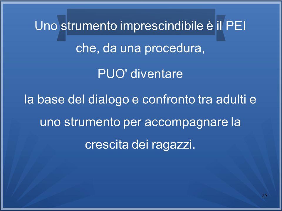 25 Uno strumento imprescindibile è il PEI che, da una procedura, PUO' diventare la base del dialogo e confronto tra adulti e uno strumento per accompa