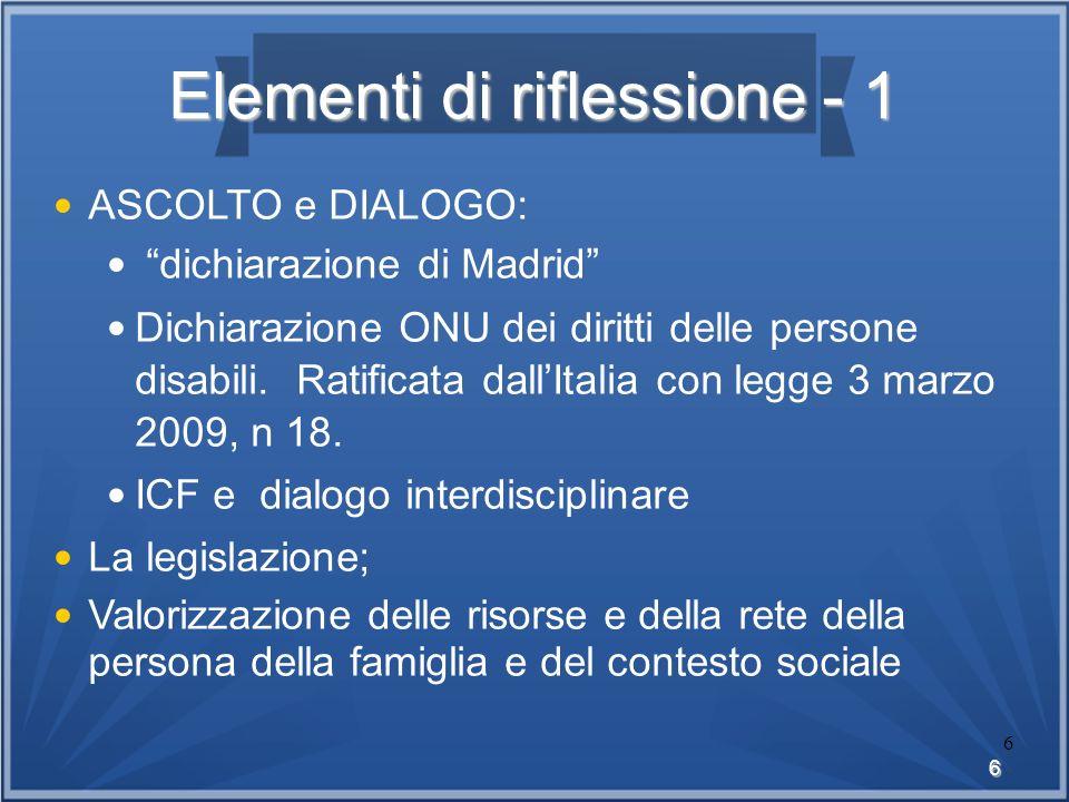 6 6 Elementi di riflessione - 1 ASCOLTO e DIALOGO: dichiarazione di Madrid Dichiarazione ONU dei diritti delle persone disabili. Ratificata dallItalia