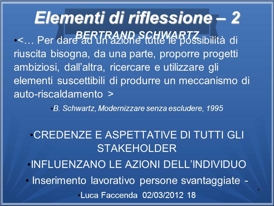 7 Elementi di riflessione – 2 Elementi di riflessione – 2 BERTRAND SCHWARTZ B. Schwartz, Modernizzare senza escludere, 1995 CREDENZE E ASPETTATIVE DI