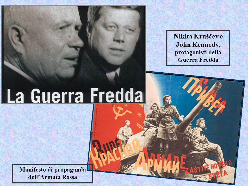 Nikita Kruščev e John Kennedy, protagonisti della Guerra Fredda Manifesto di propaganda dellArmata Rossa
