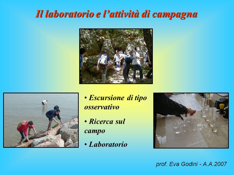 Il laboratorio e lattività di campagna Escursione di tipo osservativo Ricerca sul campo Laboratorio prof. Eva Godini - A.A.2007