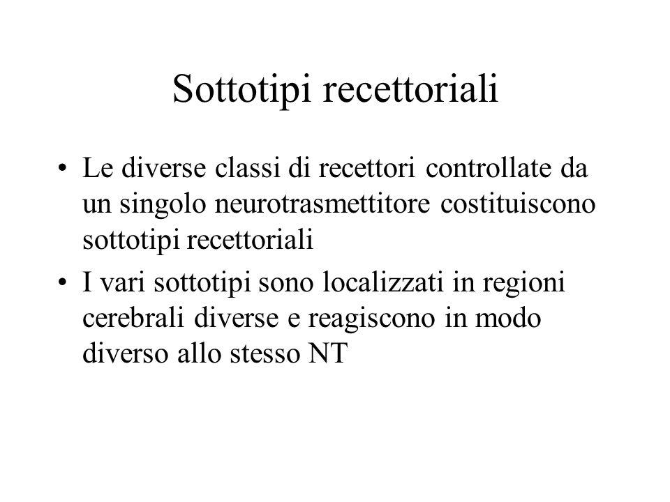 Sottotipi recettoriali Le diverse classi di recettori controllate da un singolo neurotrasmettitore costituiscono sottotipi recettoriali I vari sottoti