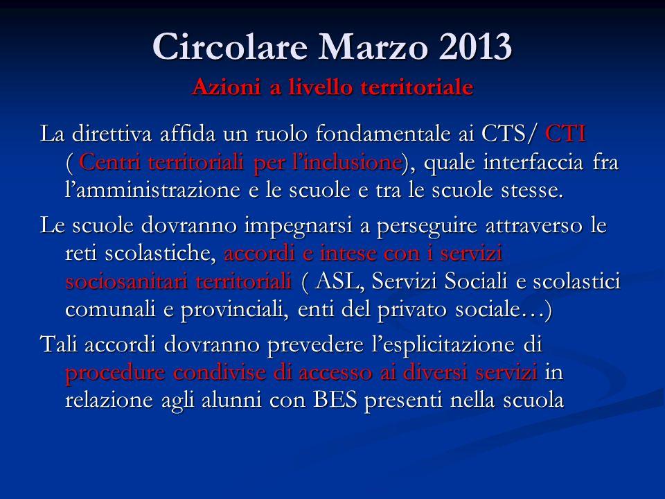 Circolare Marzo 2013 Azioni a livello territoriale La direttiva affida un ruolo fondamentale ai CTS/ CTI ( Centri territoriali per linclusione), quale interfaccia fra lamministrazione e le scuole e tra le scuole stesse.