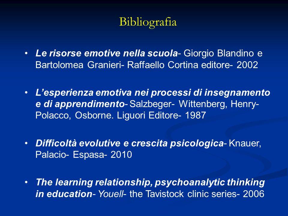 Bibliografia Le risorse emotive nella scuola- Giorgio Blandino e Bartolomea Granieri- Raffaello Cortina editore- 2002 Lesperienza emotiva nei processi di insegnamento e di apprendimento- Salzbeger- Wittenberg, Henry- Polacco, Osborne.
