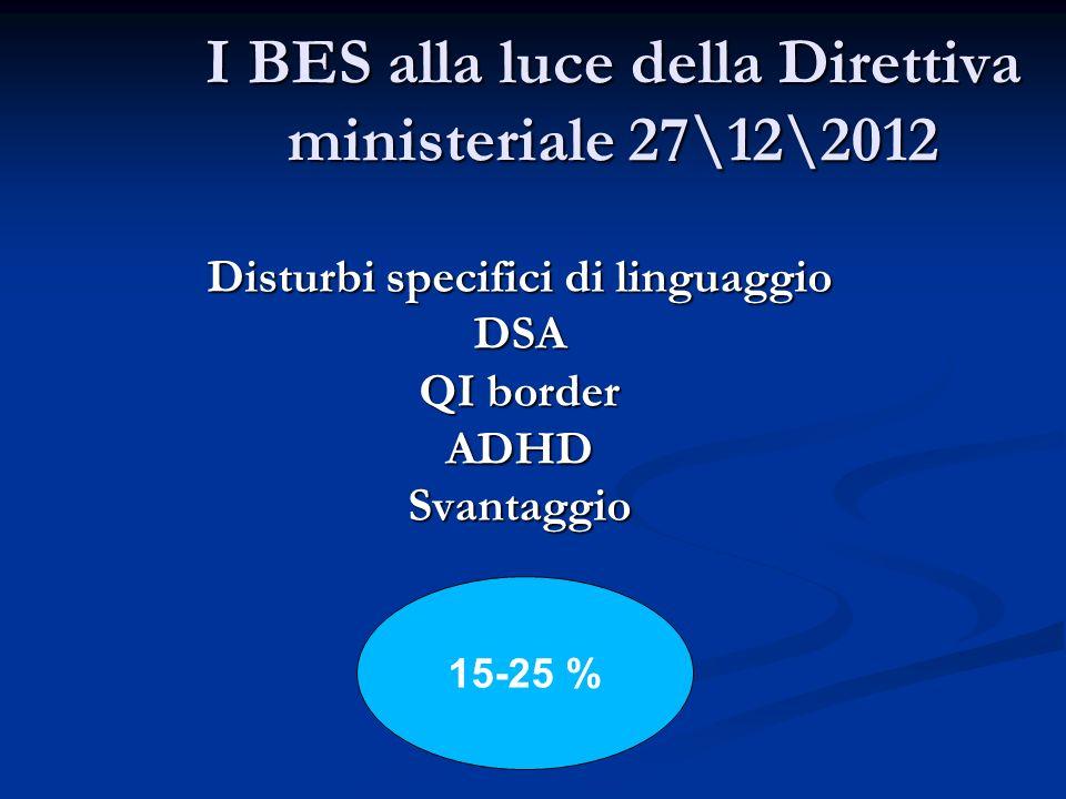 I BES alla luce della Direttiva ministeriale 27\12\2012 Disturbi specifici di linguaggio DSA QI border ADHDSvantaggio 15-25 %