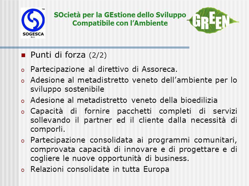 SOcietà per la GEstione dello Sviluppo Compatibile con lAmbiente Punti di forza (2/2) o Partecipazione al direttivo di Assoreca.