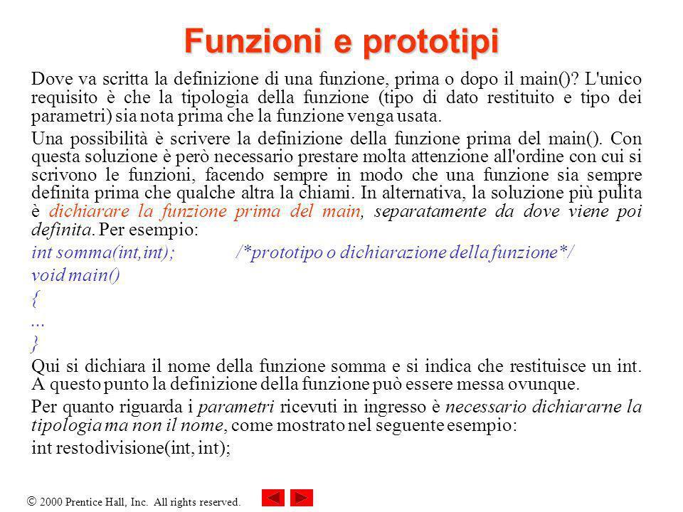 2000 Prentice Hall, Inc. All rights reserved. Funzioni e prototipi Dove va scritta la definizione di una funzione, prima o dopo il main()? L'unico req