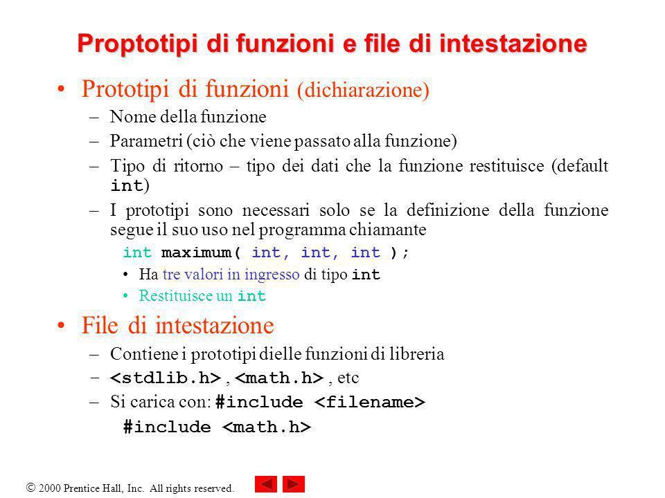 2000 Prentice Hall, Inc. All rights reserved. Proptotipi di funzioni e file di intestazione Prototipi di funzioni (dichiarazione) –Nome della funzione