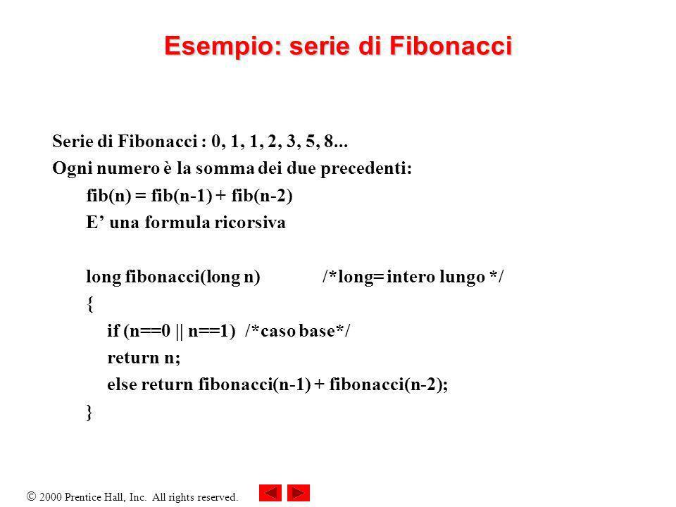 2000 Prentice Hall, Inc. All rights reserved. Esempio: serie di Fibonacci Serie di Fibonacci : 0, 1, 1, 2, 3, 5, 8... Ogni numero è la somma dei due p
