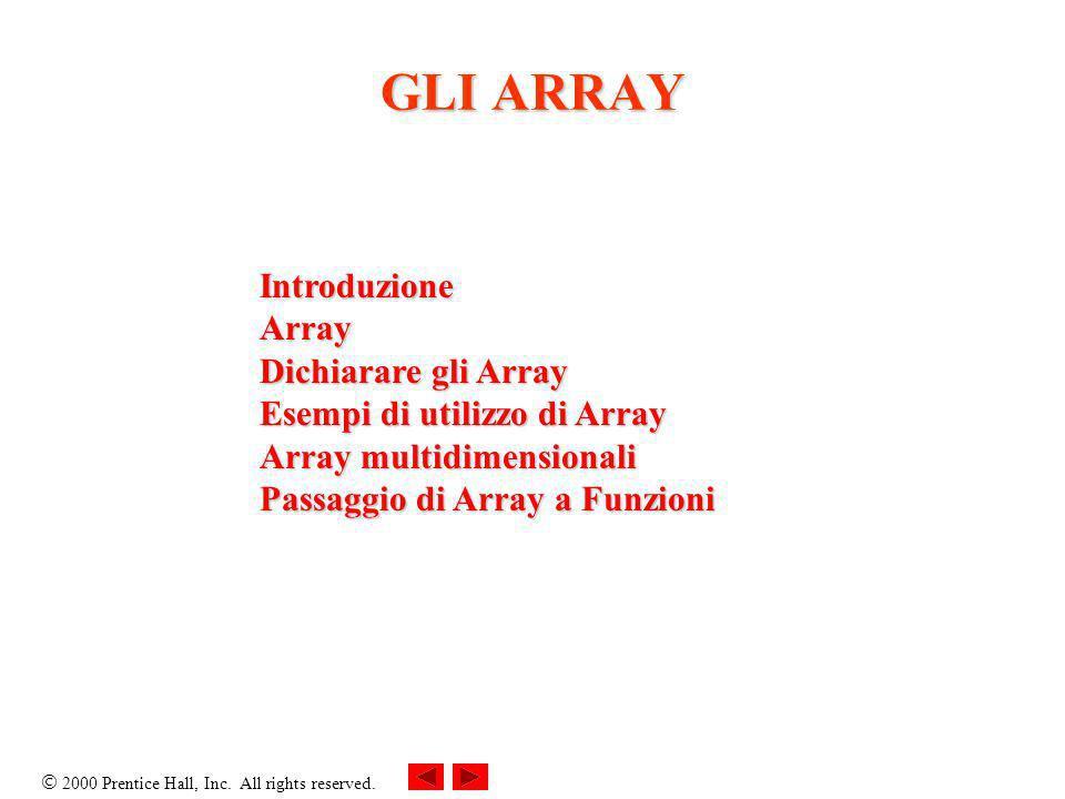 2000 Prentice Hall, Inc. All rights reserved. GLI ARRAY IntroduzioneArray Dichiarare gli Array Esempi di utilizzo di Array Array multidimensionali Pas
