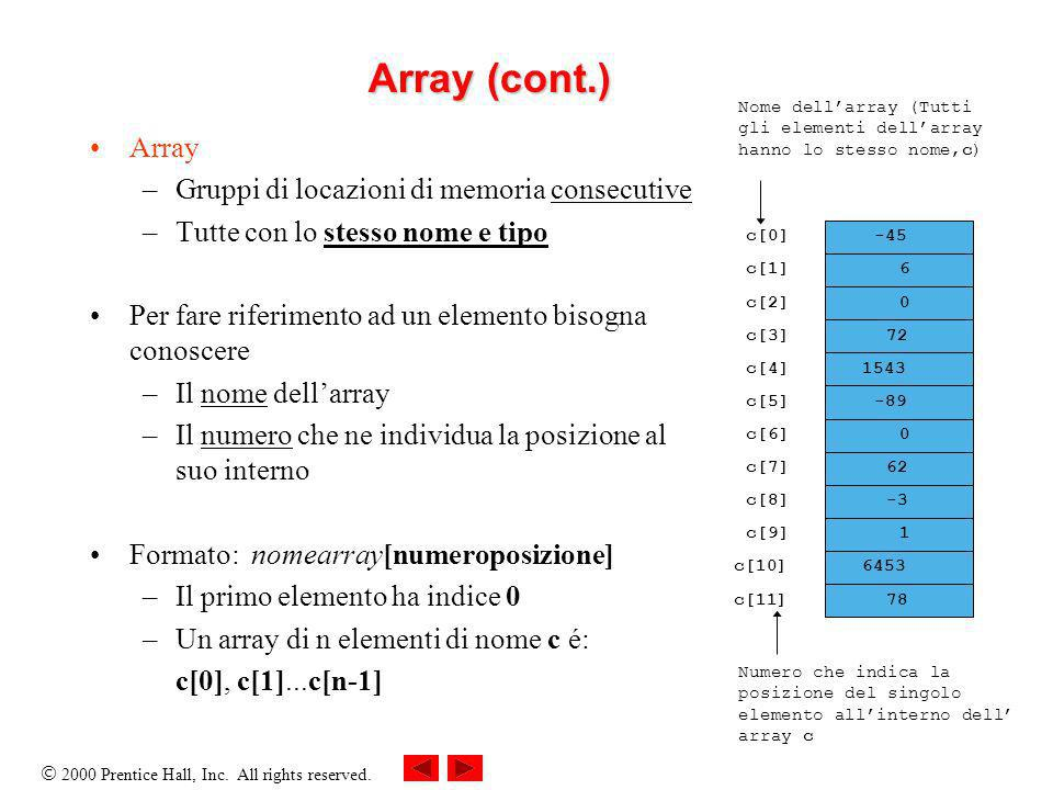2000 Prentice Hall, Inc. All rights reserved. Array (cont.) Array –Gruppi di locazioni di memoria consecutive –Tutte con lo stesso nome e tipo Per far