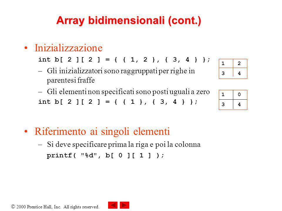 2000 Prentice Hall, Inc. All rights reserved. Array bidimensionali (cont.) Inizializzazione int b[ 2 ][ 2 ] = { { 1, 2 }, { 3, 4 } }; –Gli inizializza