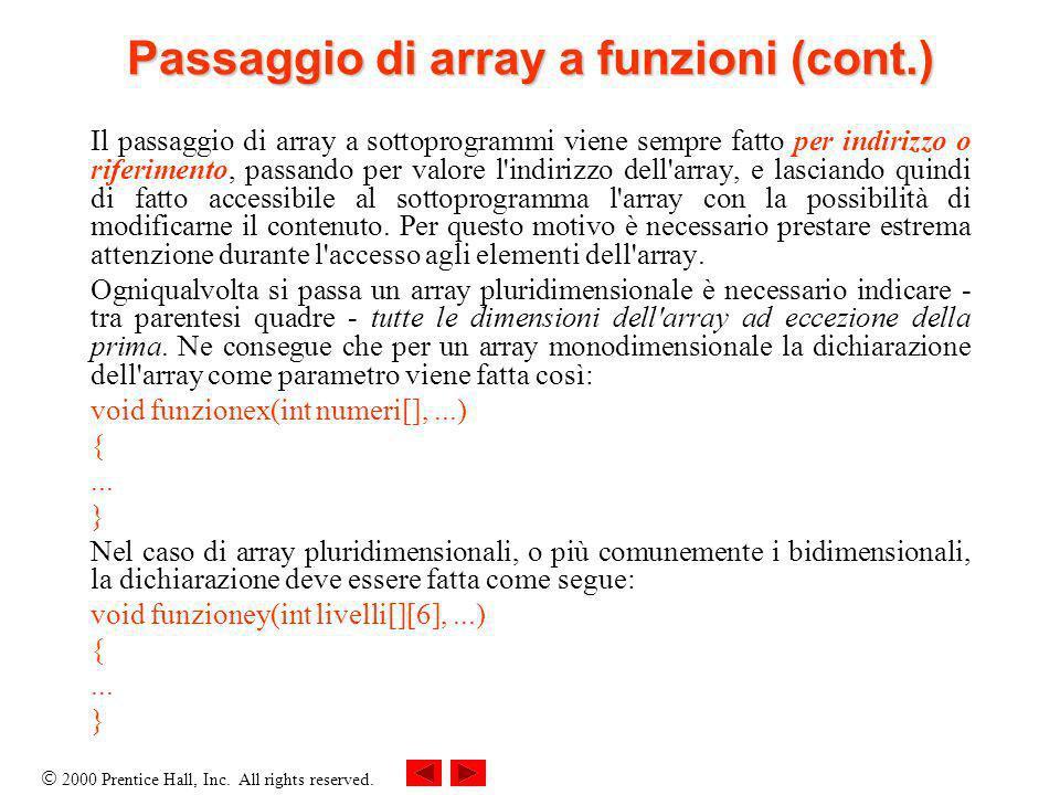 2000 Prentice Hall, Inc. All rights reserved. Passaggio di array a funzioni (cont.) Il passaggio di array a sottoprogrammi viene sempre fatto per indi