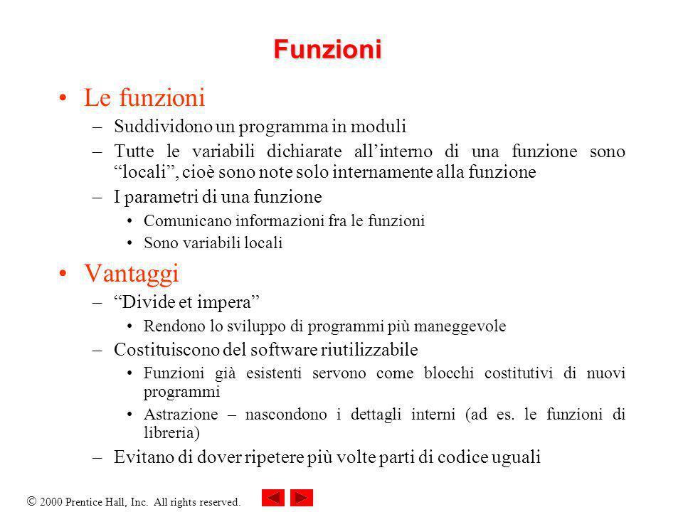 2000 Prentice Hall, Inc. All rights reserved. Funzioni Le funzioni –Suddividono un programma in moduli –Tutte le variabili dichiarate allinterno di un