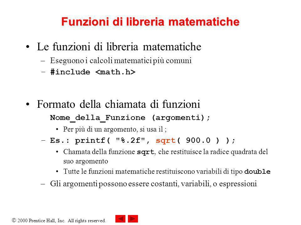 2000 Prentice Hall, Inc. All rights reserved. Funzioni di libreria matematiche Le funzioni di libreria matematiche –Eseguono i calcoli matematici più