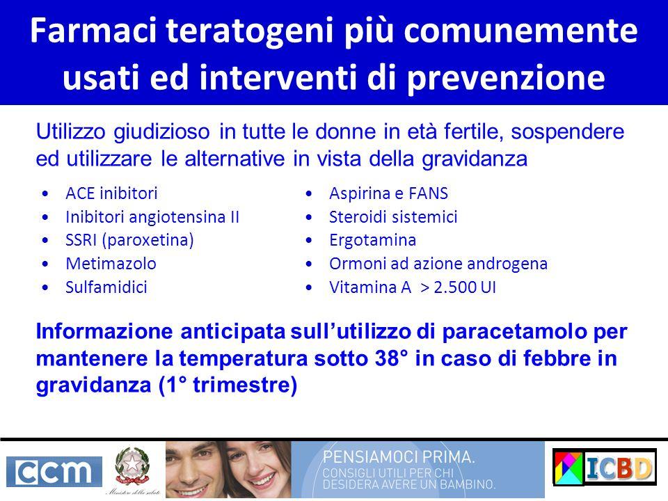 Farmaci teratogeni più comunemente usati ed interventi di prevenzione ACE inibitori Inibitori angiotensina II SSRI (paroxetina) Metimazolo Sulfamidici