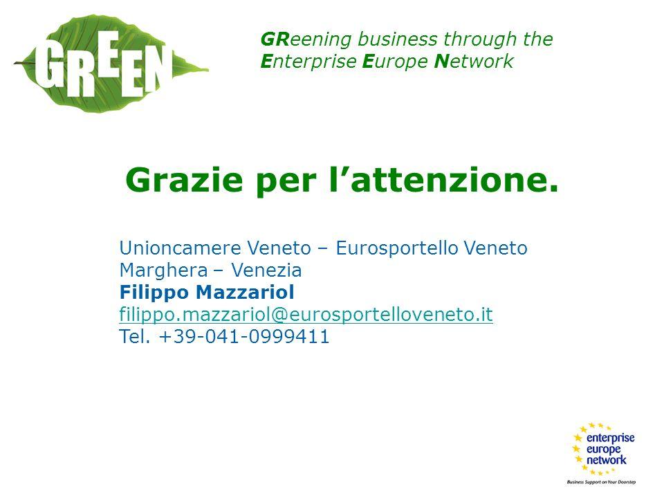 GReening business through the Enterprise Europe Network Grazie per lattenzione. Unioncamere Veneto – Eurosportello Veneto Marghera – Venezia Filippo M