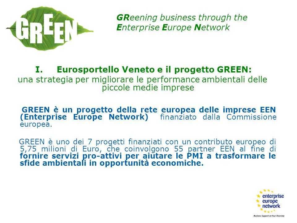 I. Eurosportello Veneto e il progetto GREEN: una strategia per migliorare le performance ambientali delle piccole medie imprese GREEN è un progetto de