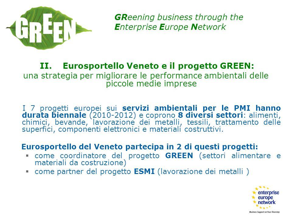 II. Eurosportello Veneto e il progetto GREEN: una strategia per migliorare le performance ambientali delle piccole medie imprese I 7 progetti europei