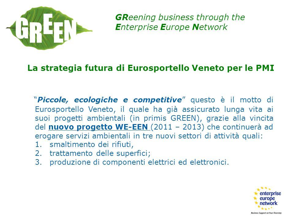 GReening business through the Enterprise Europe Network La strategia futura di Eurosportello Veneto per le PMI Piccole, ecologiche e competitive quest