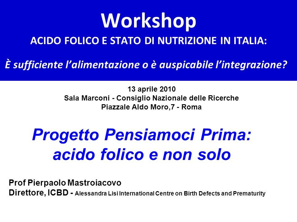 Workshop ACIDO FOLICO E STATO DI NUTRIZIONE IN ITALIA: È sufficiente lalimentazione o è auspicabile lintegrazione? 13 aprile 2010 Sala Marconi - Consi
