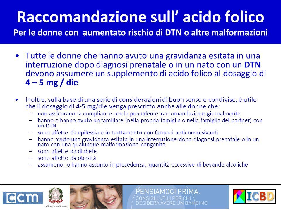 Raccomandazione sull acido folico Per le donne con aumentato rischio di DTN o altre malformazioni Tutte le donne che hanno avuto una gravidanza esitat