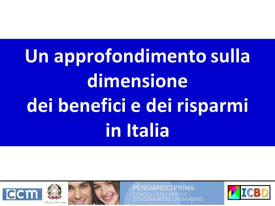 Un approfondimento sulla dimensione dei benefici e dei risparmi in Italia