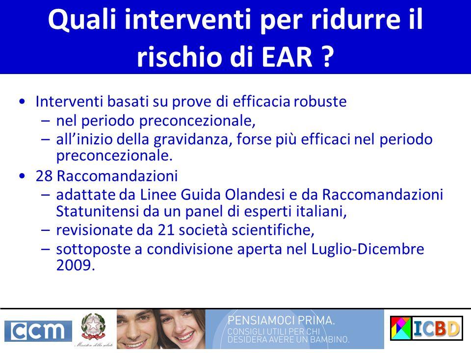 Quali interventi per ridurre il rischio di EAR ? Interventi basati su prove di efficacia robuste –nel periodo preconcezionale, –allinizio della gravid