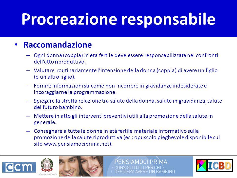 Raccomandazione – Ogni donna (coppia) in età fertile deve essere responsabilizzata nei confronti dellatto riproduttivo. – Valutare routinariamente lin