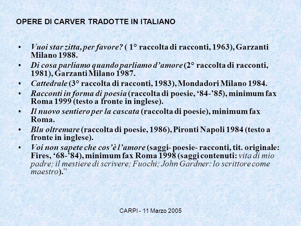 CARPI - 11 Marzo 2005 Vuoi star zitta, per favore? ( 1° raccolta di racconti, 1963), Garzanti Milano 1988. Di cosa parliamo quando parliamo damore (2°