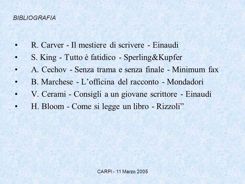 CARPI - 11 Marzo 2005 R. Carver - Il mestiere di scrivere - Einaudi S. King - Tutto è fatidico - Sperling&Kupfer A. Cechov - Senza trama e senza final