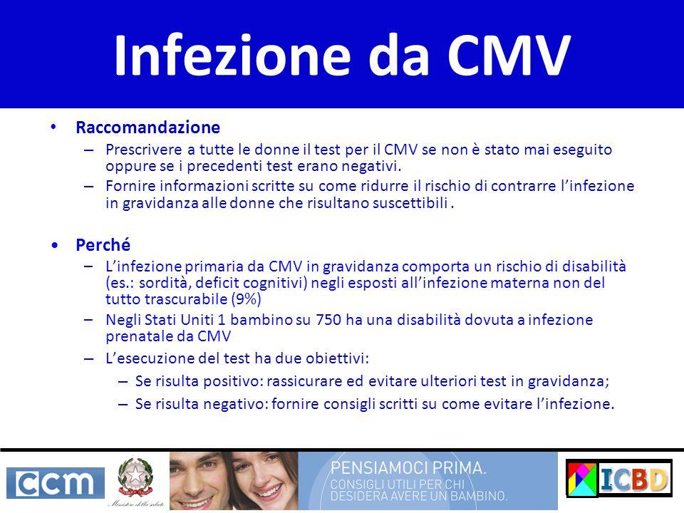 Infezione da CMV Raccomandazione – Prescrivere a tutte le donne il test per il CMV se non è stato mai eseguito oppure se i precedenti test erano negat