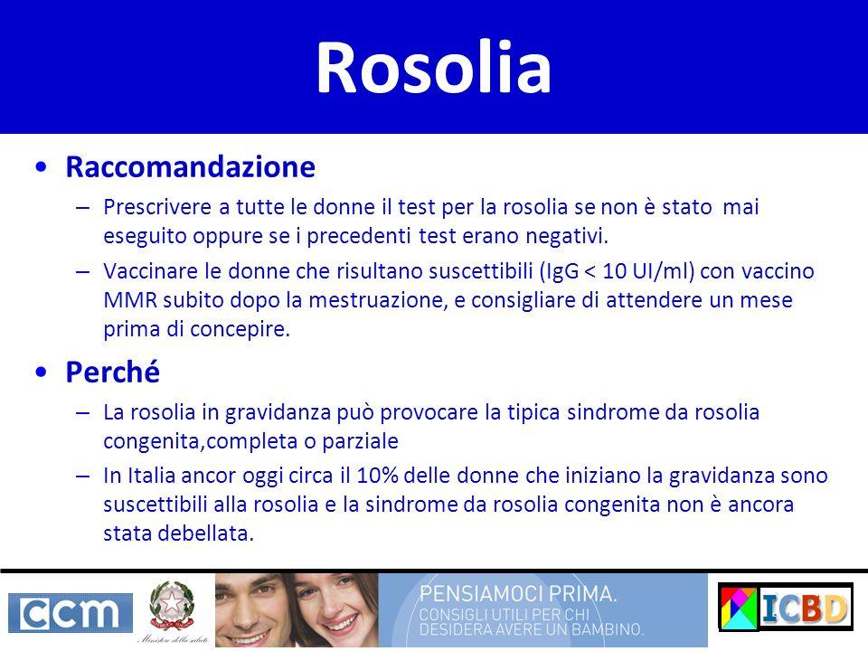 Rosolia Raccomandazione – Prescrivere a tutte le donne il test per la rosolia se non è stato mai eseguito oppure se i precedenti test erano negativi.