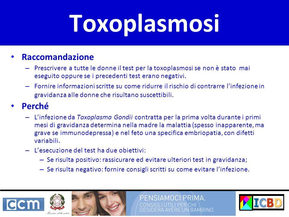 Toxoplasmosi Raccomandazione – Prescrivere a tutte le donne il test per la toxoplasmosi se non è stato mai eseguito oppure se i precedenti test erano