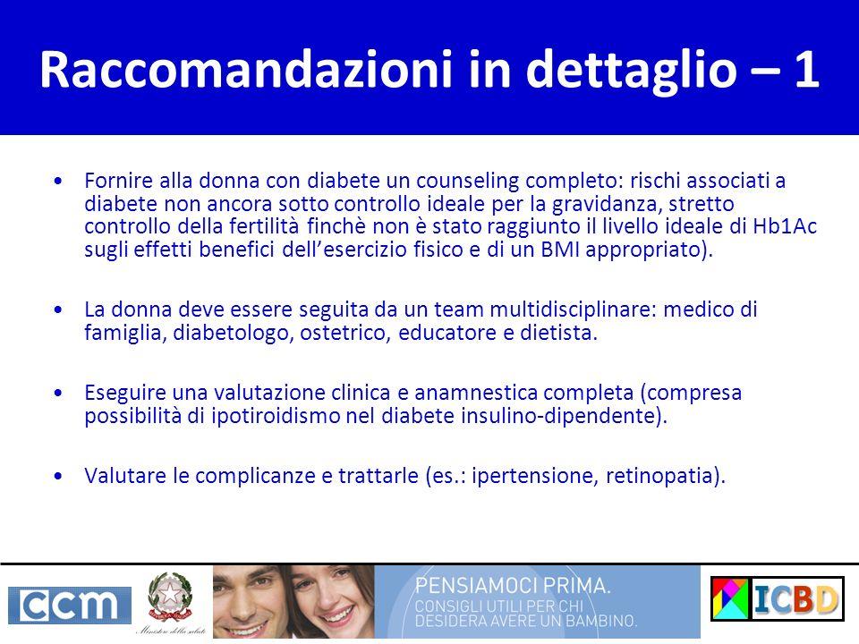 Raccomandazioni in dettaglio – 1 Fornire alla donna con diabete un counseling completo: rischi associati a diabete non ancora sotto controllo ideale p