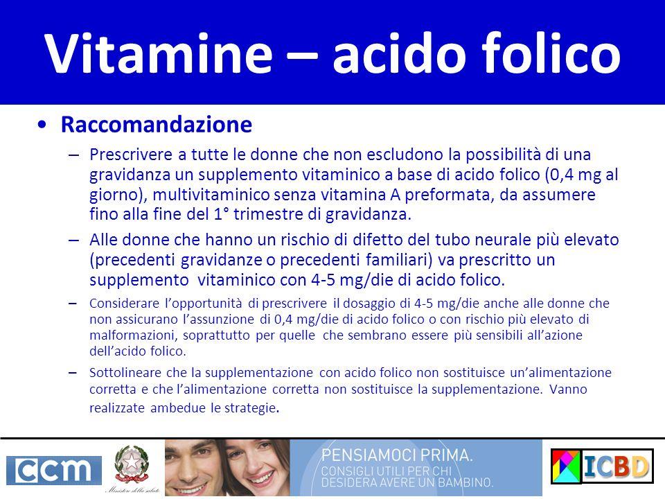 Vitamine – acido folico Raccomandazione – Prescrivere a tutte le donne che non escludono la possibilità di una gravidanza un supplemento vitaminico a